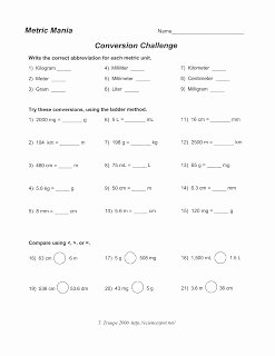 Metric Mania Worksheet Answers Awesome Science Class Metric System Conversion Worksheet