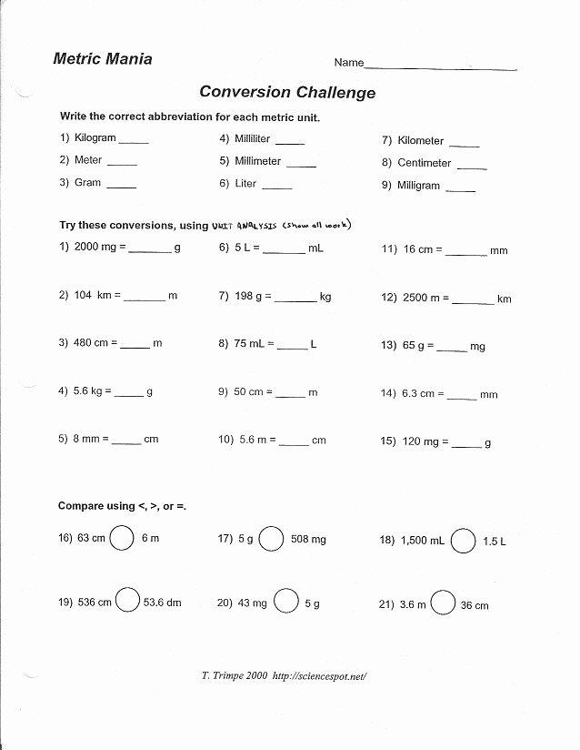 Metric Mania Worksheet Answers Elegant Metric Mania and Metric Conversion Worksheet
