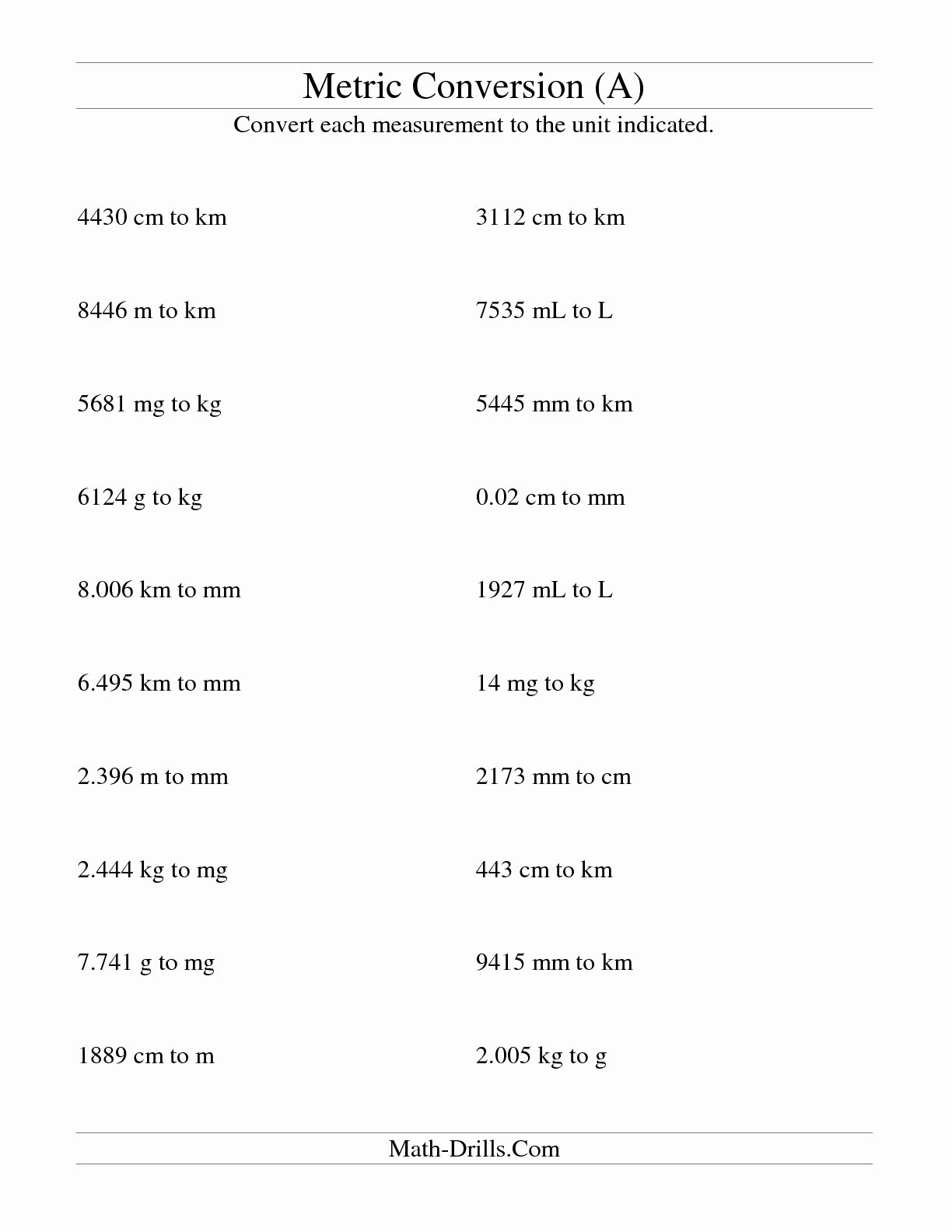 Metric Mania Worksheet Answers Lovely 14 Best Of Metric System Conversion Worksheet