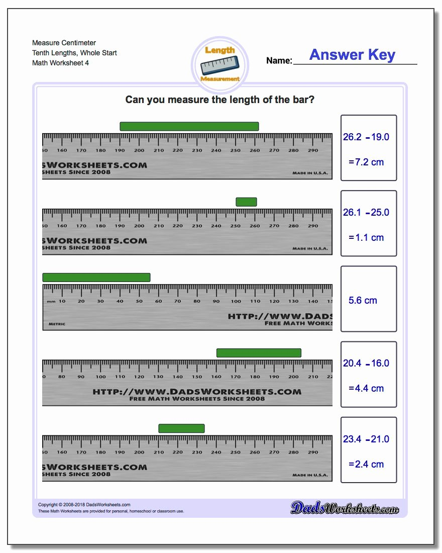 Metrics and Measurement Worksheet Answers Elegant Measure Centimeters From wholes