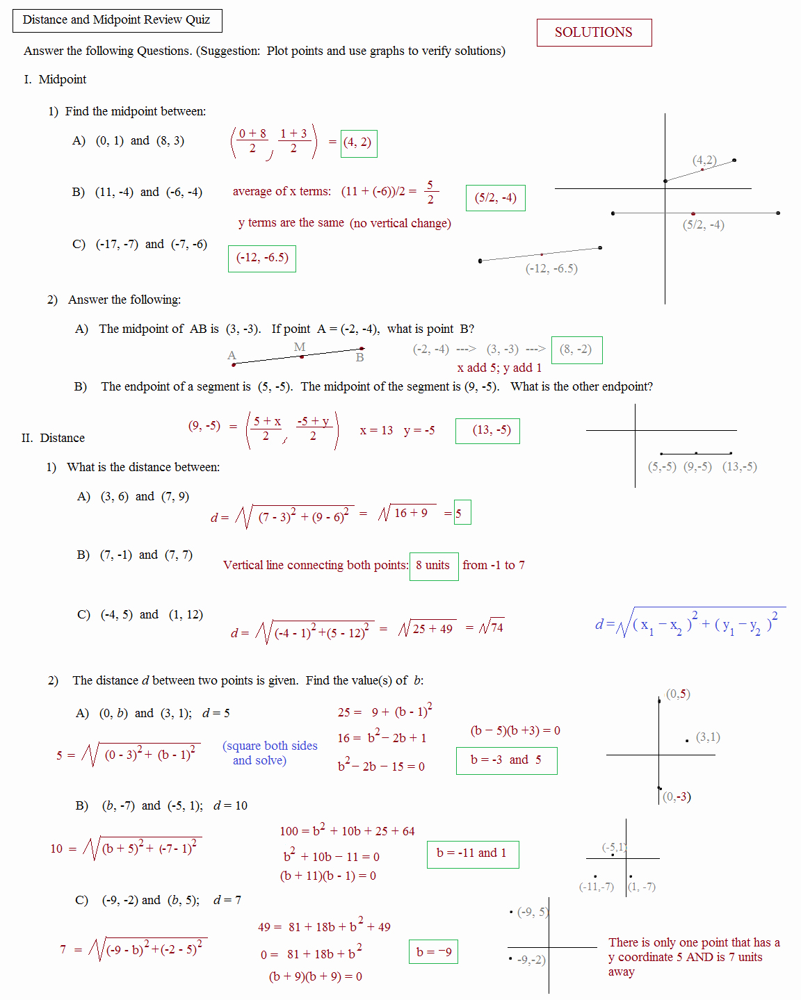 Midpoint and Distance formula Worksheet Best Of Math Plane Midpoint and Distance