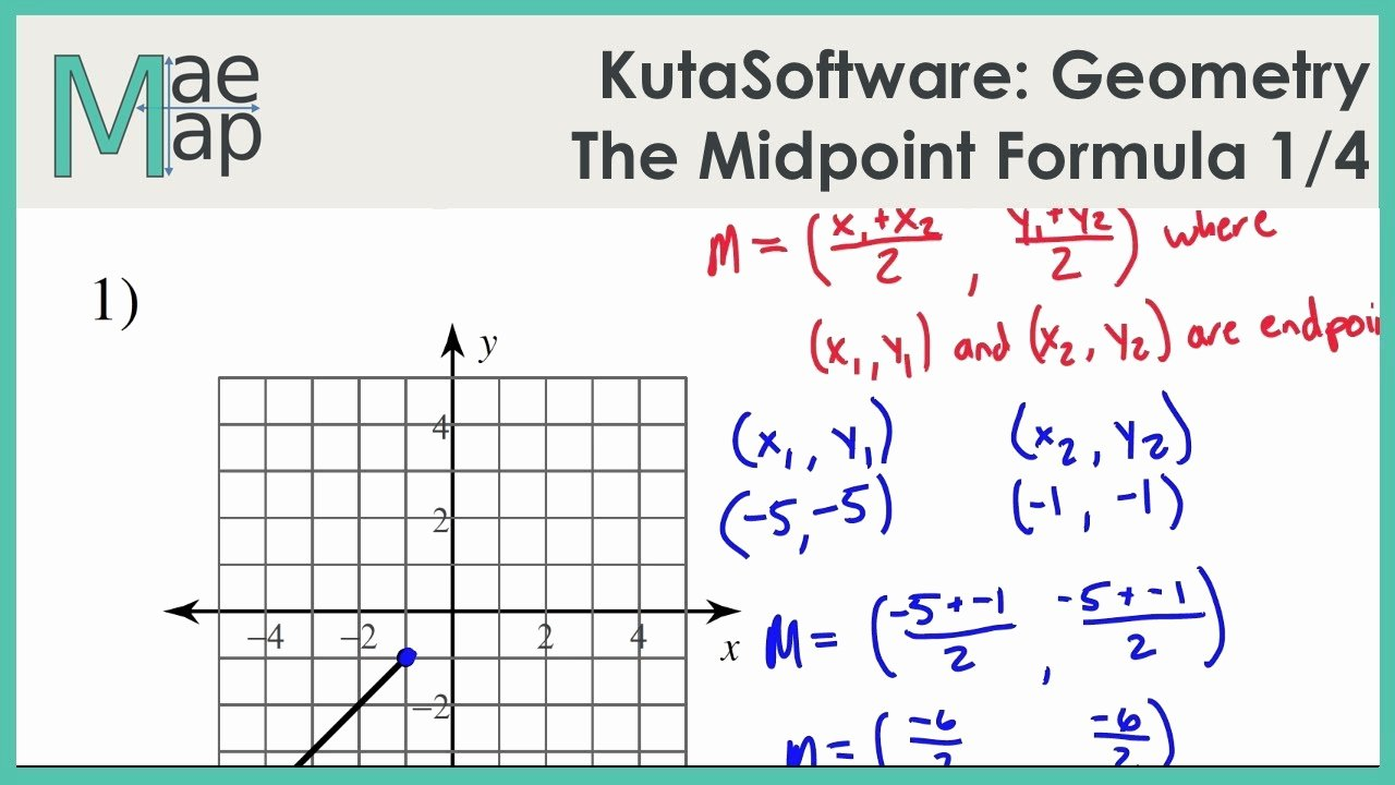 Midpoint and Distance Worksheet Unique Kutasoftware Geometry the Midpoint formula Part 1