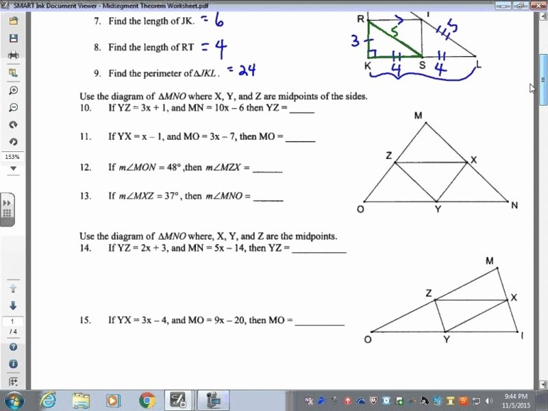 Midsegment Of A Triangle Worksheet Best Of Midsegment theorem Worksheet Answers Free Printable