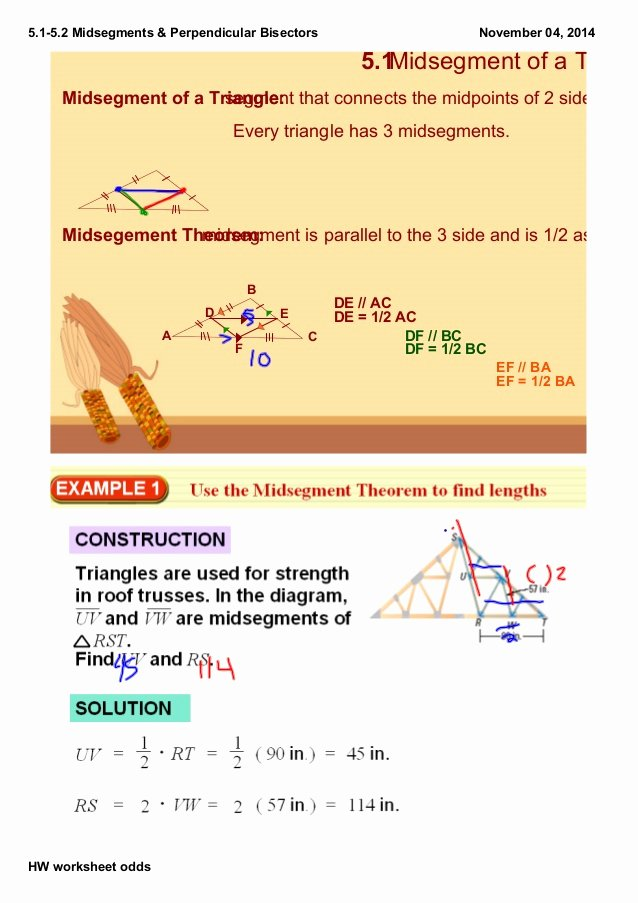 Midsegment Of A Triangle Worksheet Elegant 5 1 5 2 Notes