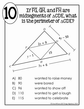 Midsegment Of A Triangle Worksheet Inspirational Triangle Midsegments Math Lib by All Things Algebra