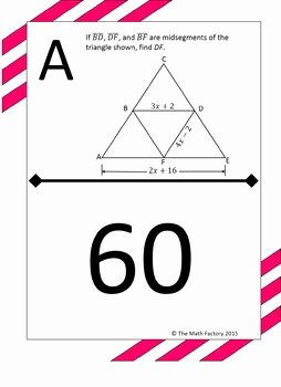 Midsegment Of A Triangle Worksheet Luxury Midsegment theorem In Triangles Scavenger Hunt Activity by