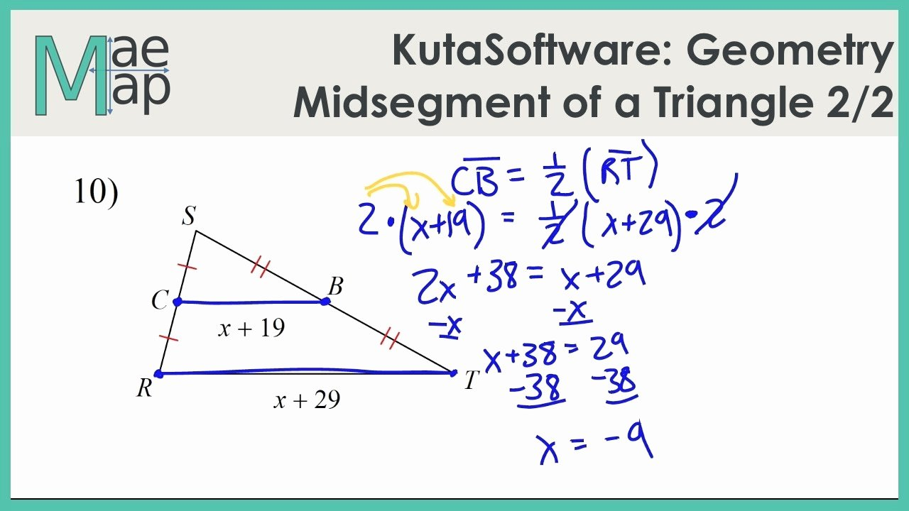 Midsegment Of A Triangle Worksheet New Kutasoftware Geometry Midsegment A Triangle Part 2