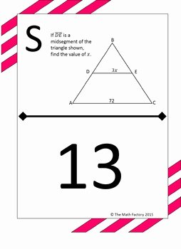 Midsegment theorem Worksheet Answer Key Best Of Midsegment theorem In Triangles Scavenger Hunt Activity by