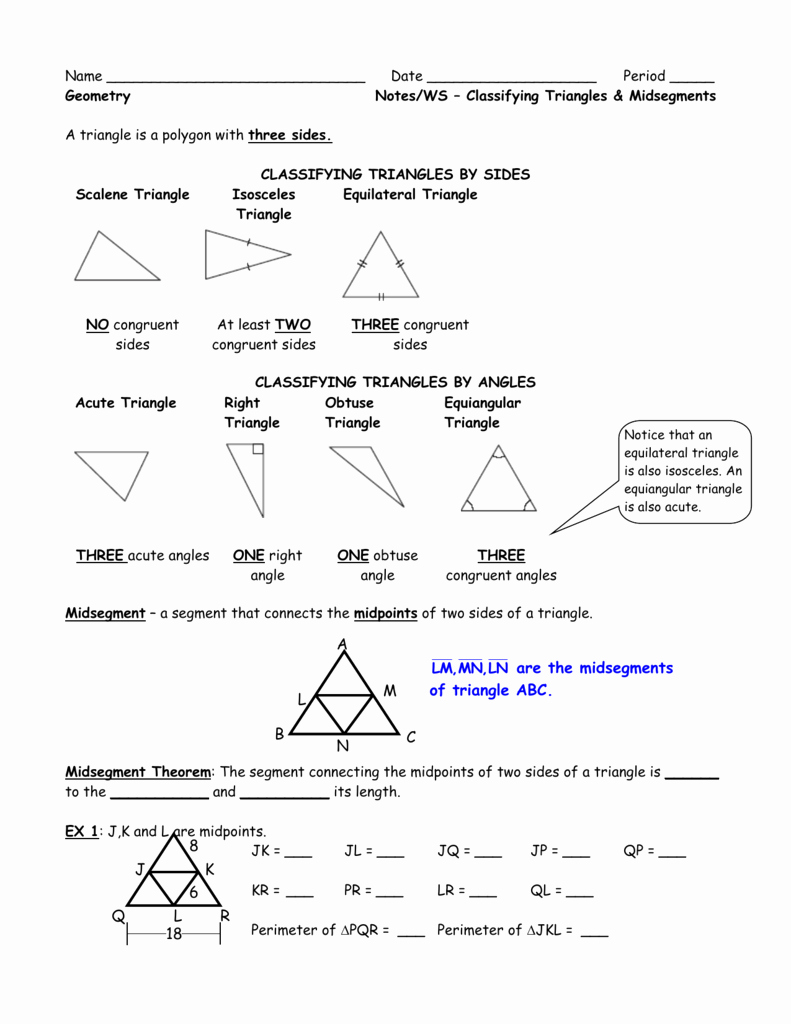 Midsegment theorem Worksheet Answer Key Fresh Unit 2 Intro Worksheet Classifying Triangles and Midsegment