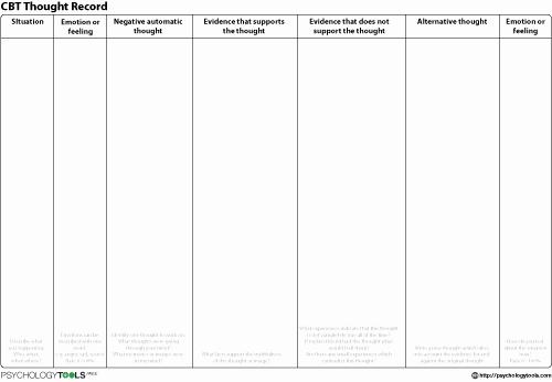 Mind Over Mood Worksheet Elegant Cbt thought Record Worksheet