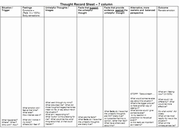 Mind Over Mood Worksheet Luxury How to Reframe A Negative thought with A thought Record