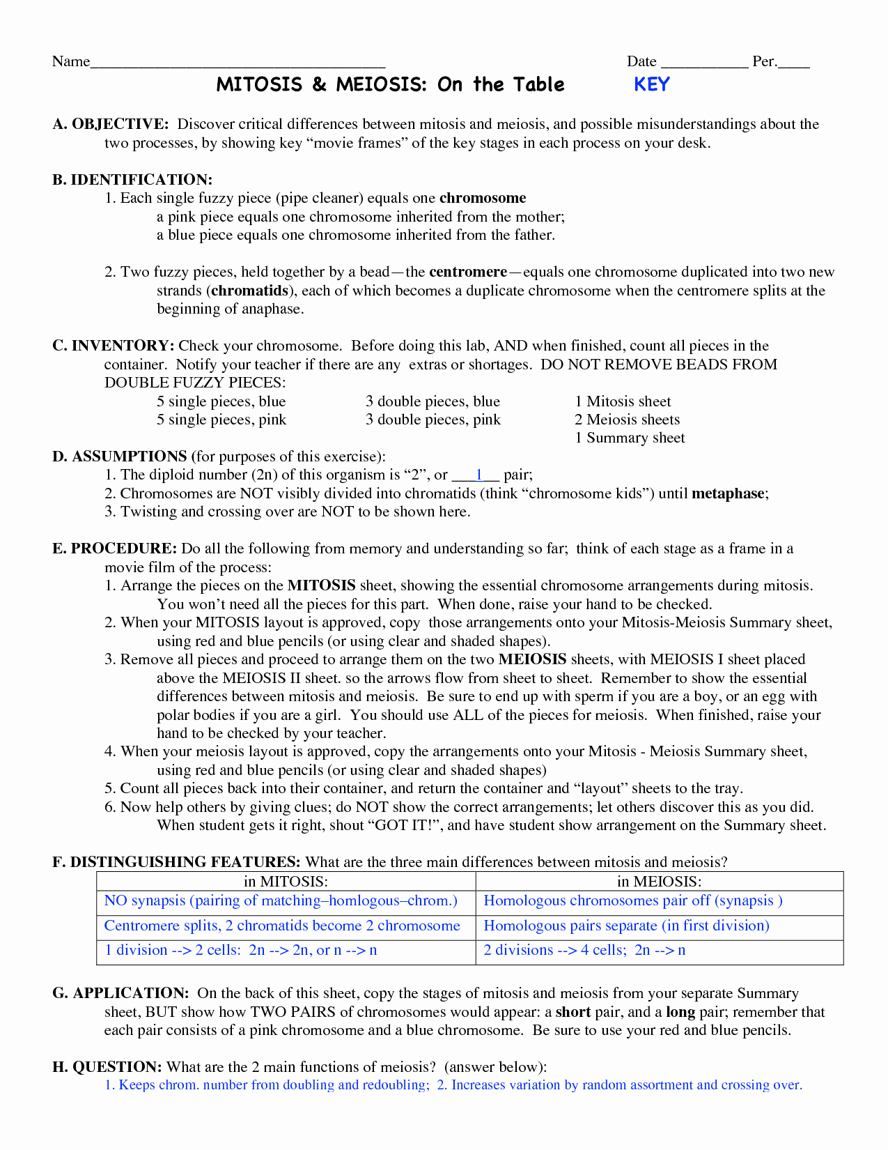 Mitosis Vs Meiosis Worksheet Answers Lovely 13 Best Of Paring Mitosis and Meiosis Worksheet