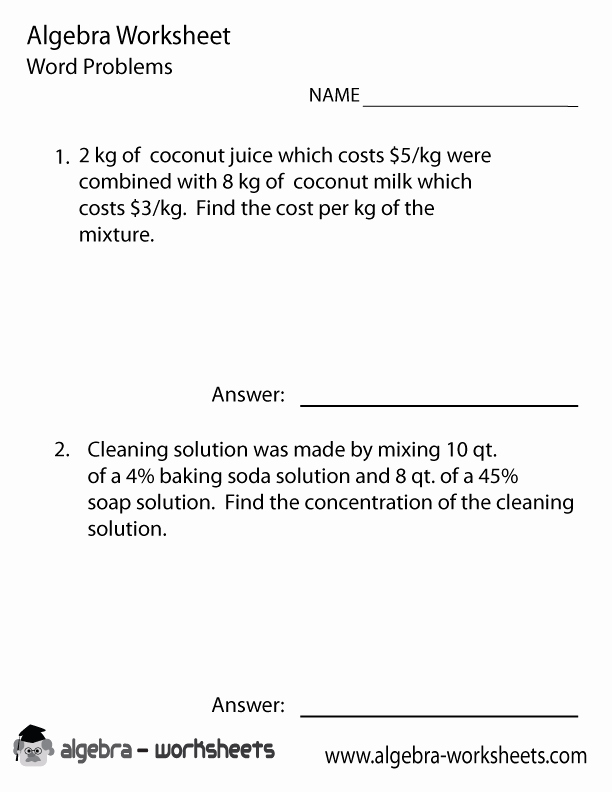 Mixture Word Problems Worksheet Awesome Mixture Word Problems Worksheet