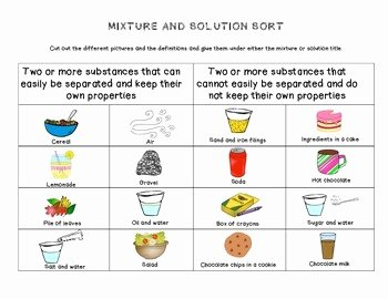 Mixtures and solutions Worksheet Answers Awesome Mixture and solution sort by the Teaching Chick