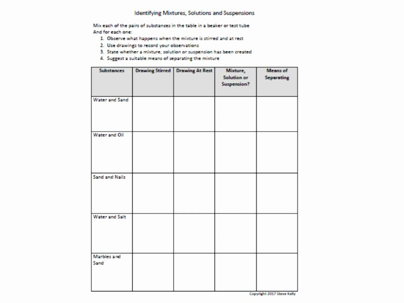 Mixtures and solutions Worksheet Answers Awesome Science Practical Worksheet Identifying Mixtures