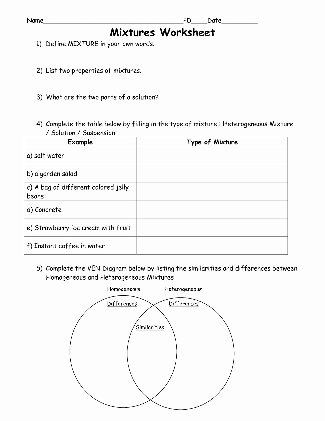 Mixtures and solutions Worksheet Answers Fresh 11 Best Of 5th Grade Science Mixtures and solutions