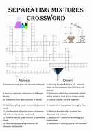 Mixtures and solutions Worksheet Answers Fresh Chemistry Crossword Puzzle Separating Mixtures Includes