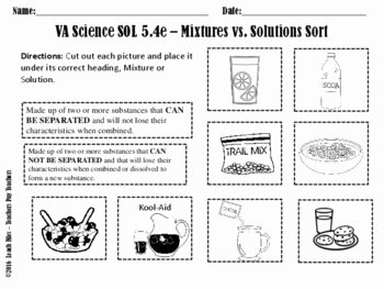 Mixtures and solutions Worksheet Answers Lovely sol 5 4e Mixtures solutions Worksheet by Leach Files