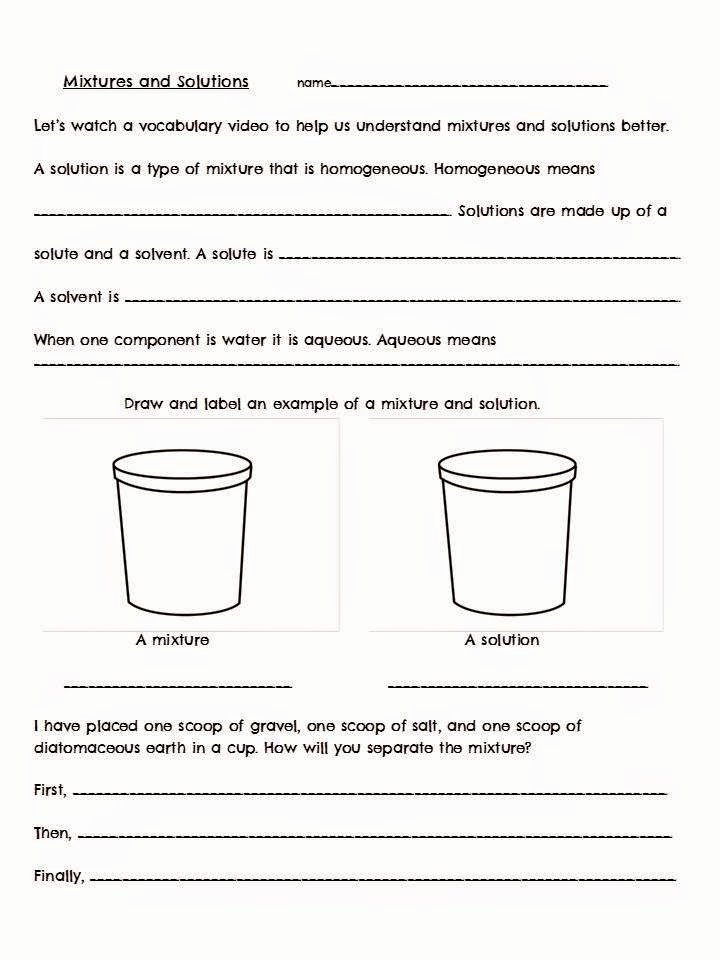 Mixtures and solutions Worksheet Answers Unique solving solutes Vs solvents the Science School Yard