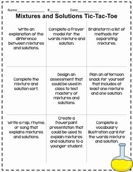 Mixtures and solutions Worksheet Fresh Mixtures and solutions Tictactoe Choice Board Extension