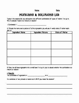Mixtures and solutions Worksheet Inspirational Mixtures and solutions Lab Experiment by Kimberly Petersen