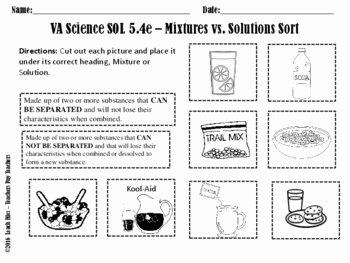 Mixtures and solutions Worksheet Unique sol 5 4e Mixtures solutions Worksheet by Leach Files