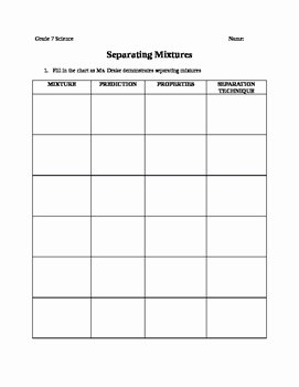 Mixtures Worksheet Answer Key Awesome Separating Mixtures Worksheet with Answer Key by Elizabeth
