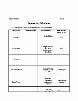 Mixtures Worksheet Answer Key Best Of Separating Mixtures Worksheet with Answer Key by Elizabeth