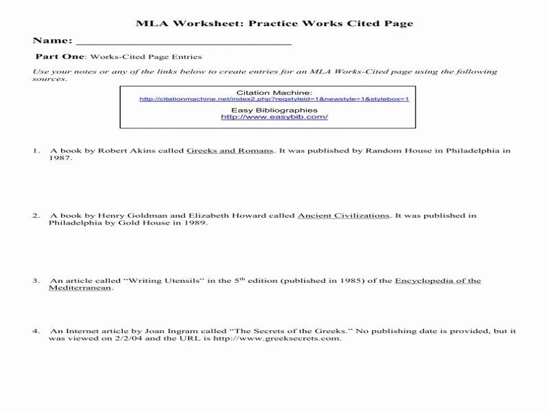 Mla Citation Practice Worksheet Awesome Mla Citation Practice Worksheet Free Printable Worksheets