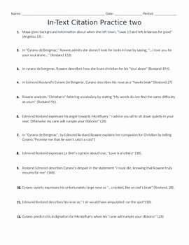 Mla Citation Practice Worksheet Beautiful Mla In Text Citation Worksheet by Miss Drum S Classroom