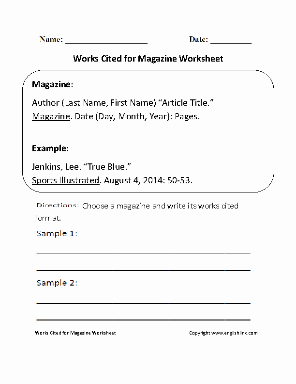 Mla Citation Practice Worksheet Fresh Works Cited for Magazine Worksheet