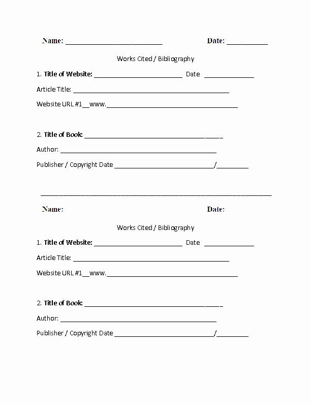 Mla Citation Practice Worksheet Inspirational Works Cited Template Worksheet Part 1 School