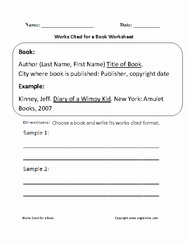 Mla Citation Practice Worksheet Luxury Englishlinx