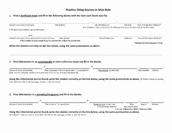 Mla Citation Practice Worksheet Unique Finding & Citing sources Mla Style Worksheet & Sample