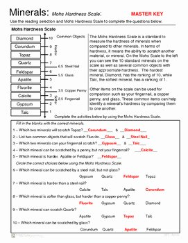 Mohs Hardness Scale Worksheet Awesome Minerals Introduction and Mohs Hardness Scale Activity
