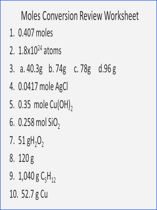 Molar Conversion Worksheet Answers Beautiful Mole to Grams Grams to Moles Conversions Worksheet Answers