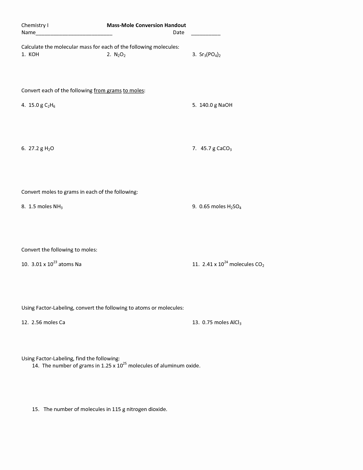 Molar Conversion Worksheet Answers Lovely 10 Best Of Moles and Mass Worksheet Answers Moles