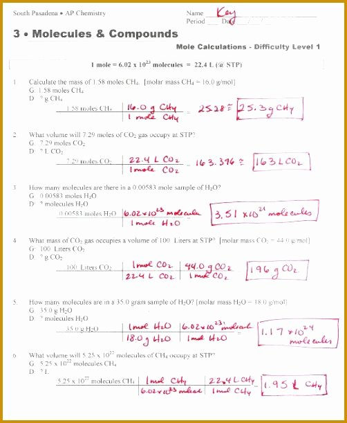 Molar Conversion Worksheet Answers Luxury Mole to Grams Grams to Moles Conversions Worksheet Answer