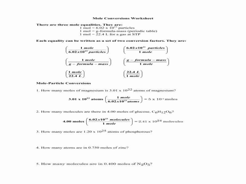 Molar Conversion Worksheet Answers Unique Mole Conversions Worksheet