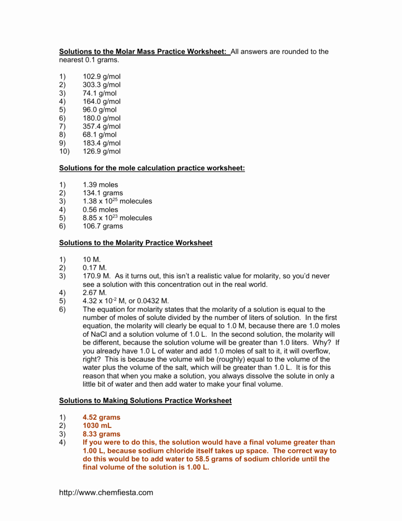 Molar Mass Practice Worksheet Best Of Molarity Practice Worksheet Answers