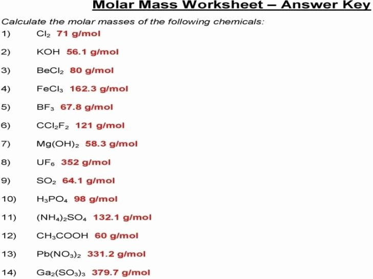 Molar Mass Practice Worksheet New Molar Mass Practice Worksheet