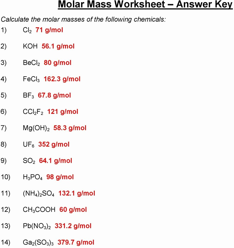 Molar Mass Practice Worksheet New Molar Mass Worksheet Answer Key Pdf