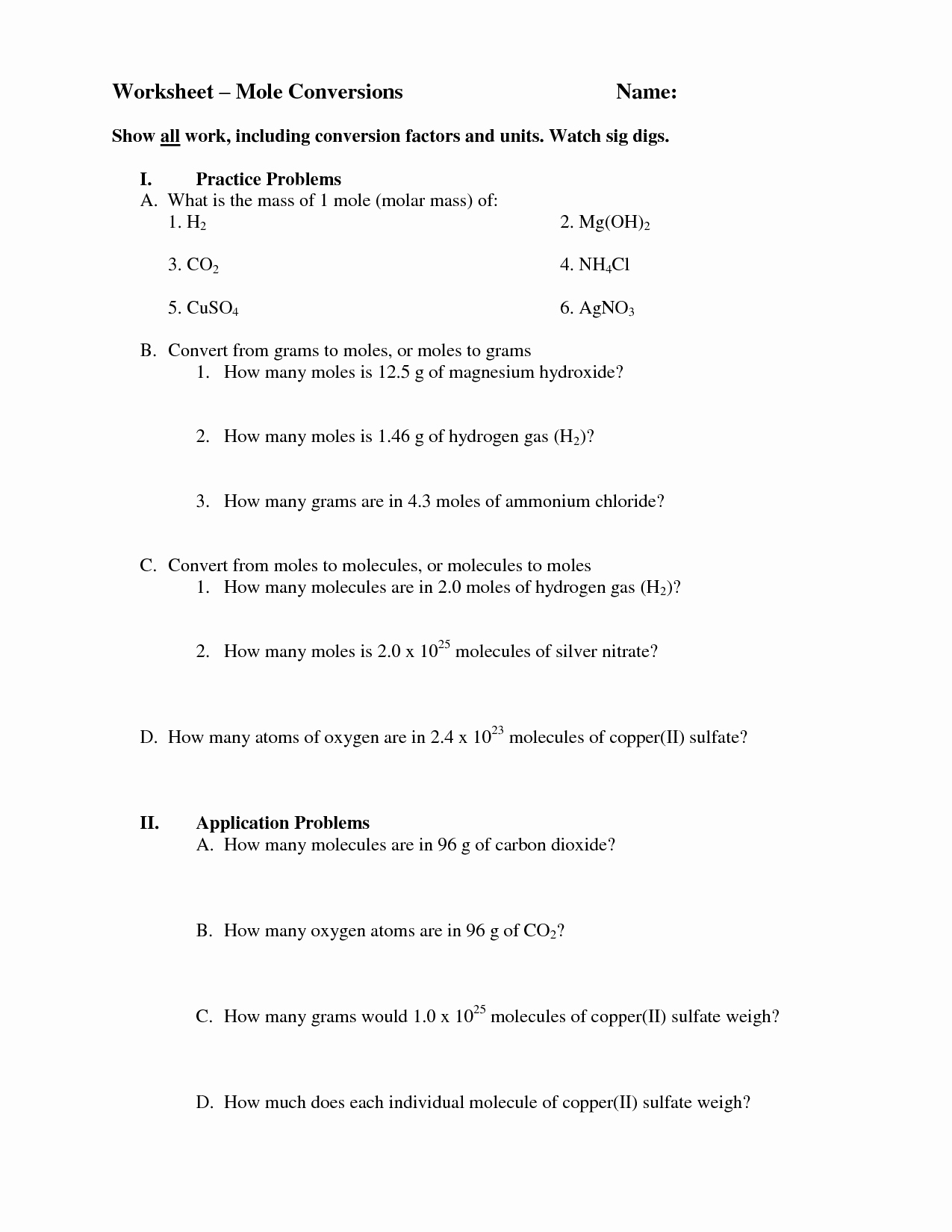 Molar Mass Worksheet Answer Key Best Of 18 Best Of Mole Conversion Problems Worksheet