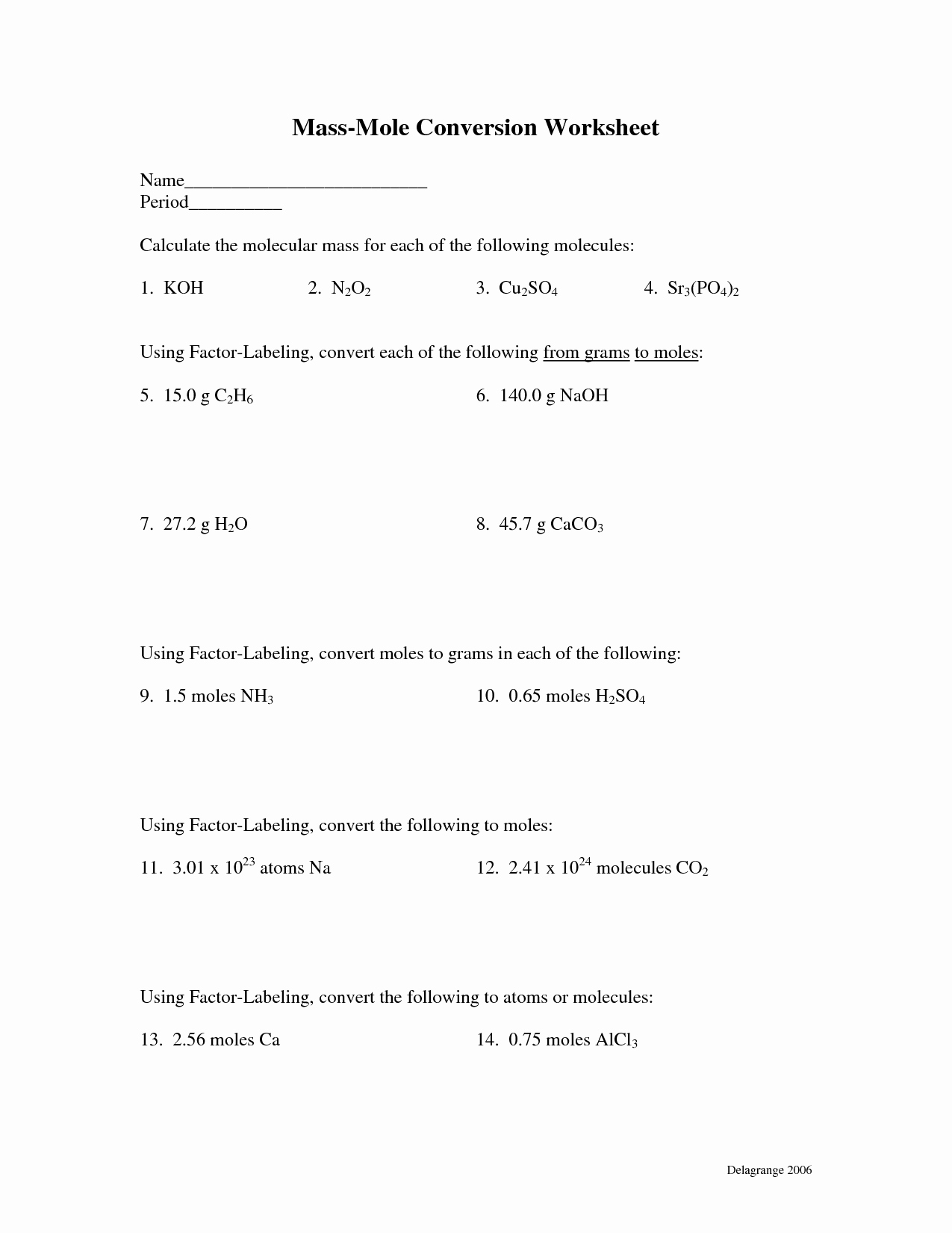 Molar Mass Worksheet Answer Key New 10 Best Of Moles and Mass Worksheet Answers Moles