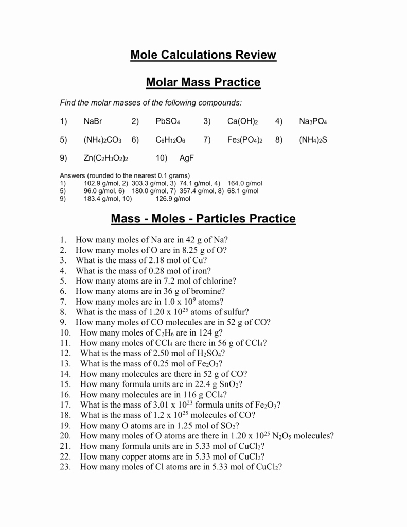 Molar Mass Worksheet Answer Key Unique Molar Mass Practice Worksheet