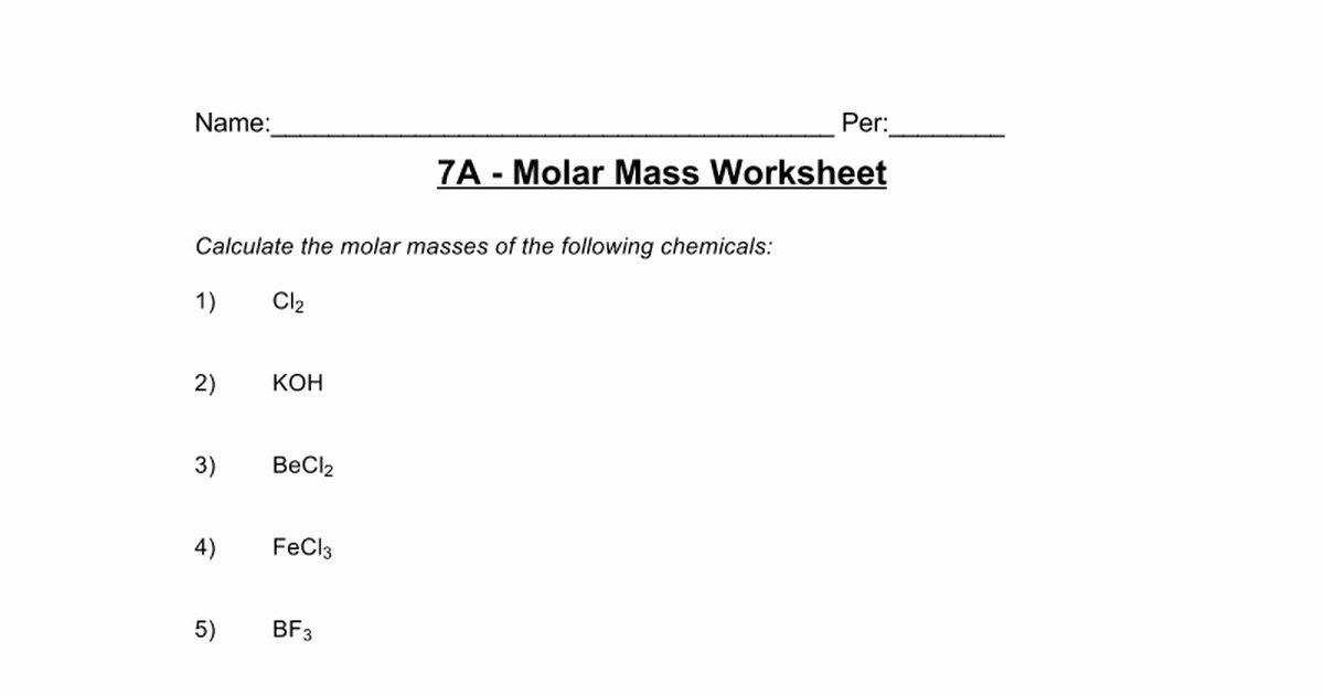 Molar Mass Worksheet Answer Key Unique Molar Mass Worksheet Answers