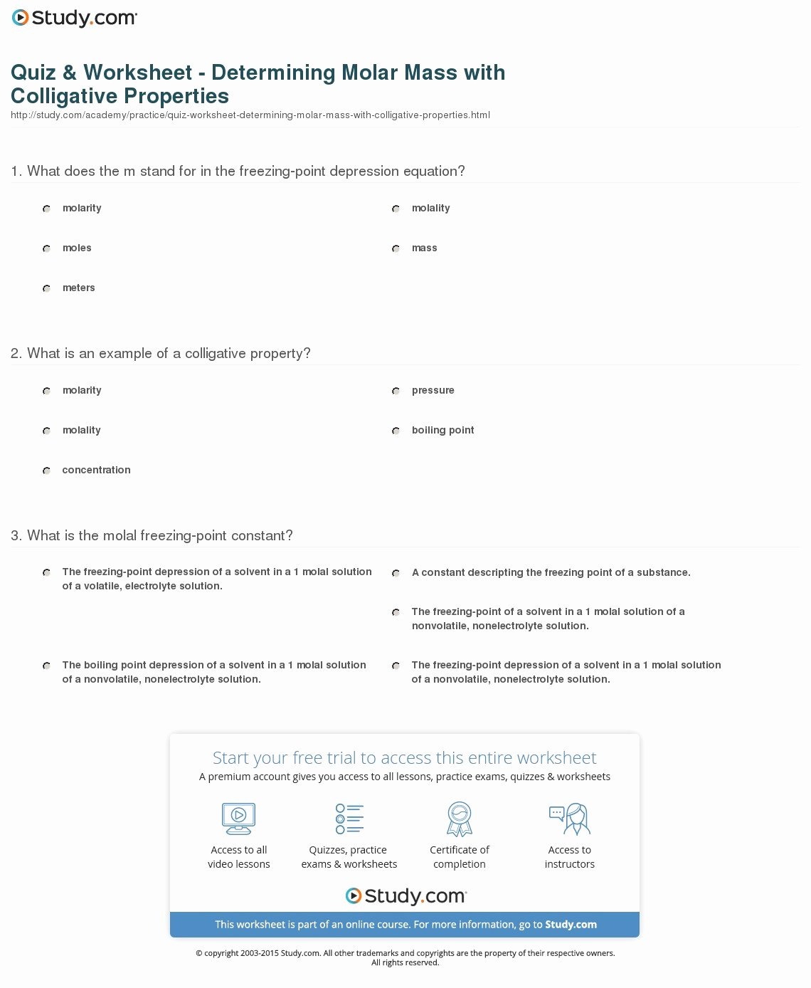 Molar Mass Worksheet Answer Key Unique Quiz & Worksheet Determining Molar Mass with Colligative