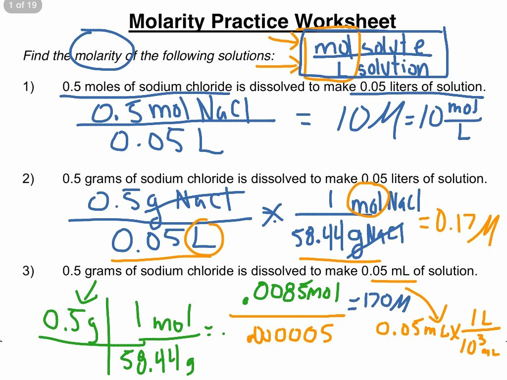Molarity Practice Worksheet Answer Awesome Molarity Practice Worksheet 1 3