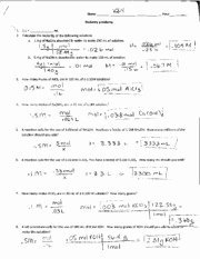 Molarity Practice Worksheet Answer New Molarity Dilution and Review Answer Key Idal Name Hour
