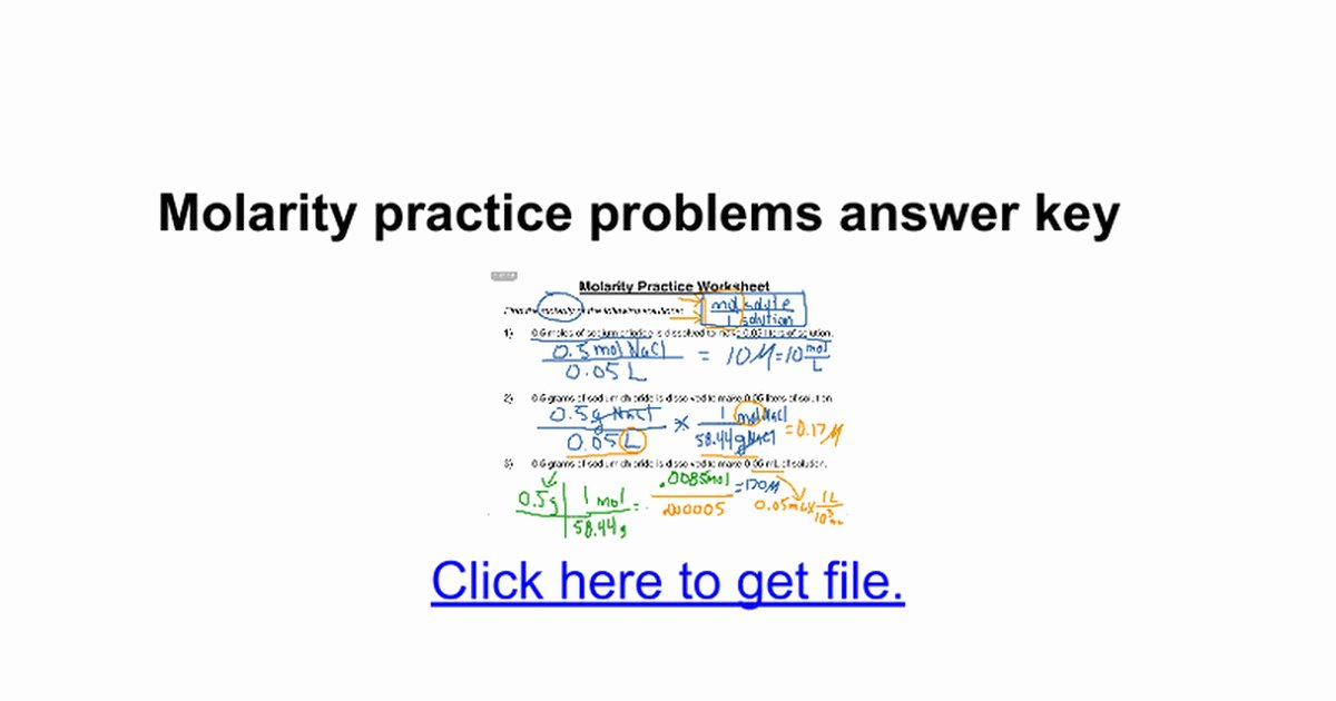 Molarity Practice Worksheet Answer New Molarity Problems Worksheet